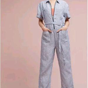 Anthropologie striped linen jumpsuit